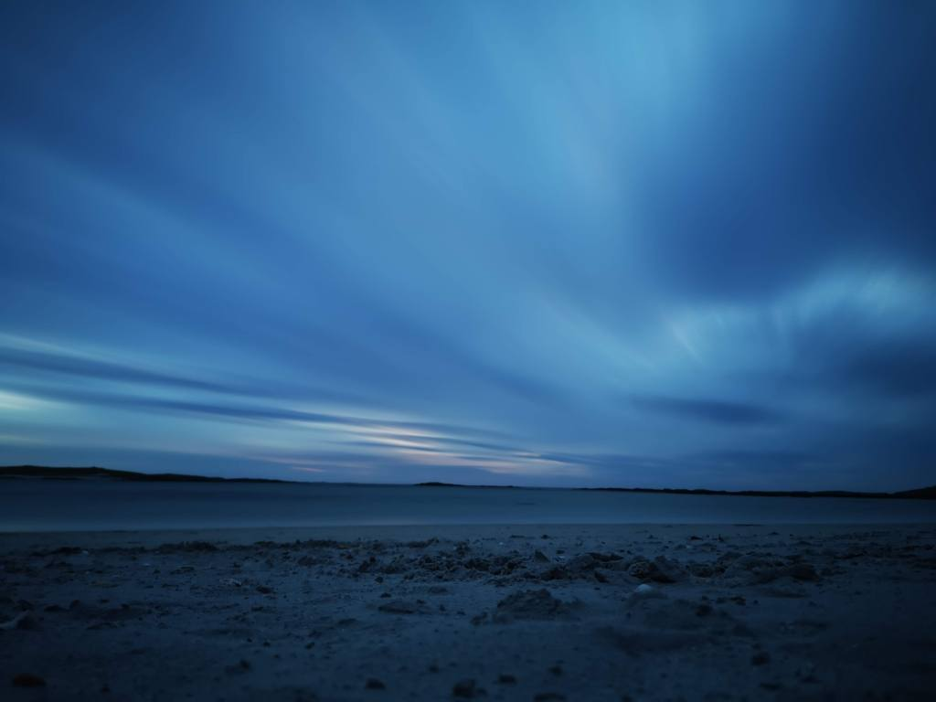 long exposure evening sky all blue hues